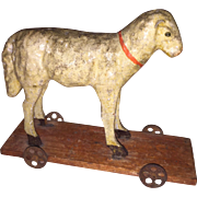 Antique German Paper Mache Rare Painted Lamb Sheep on Wheels