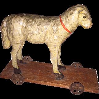 Antique German Paper Mache Rare Painted Lamb Sheep on Wheels