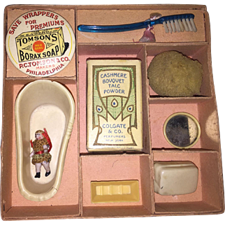 Antique German Miniature Doll Travel Toy Accessory Kit With Carl Horn Doll