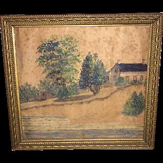 Antique American Primitive Watercolor Painting