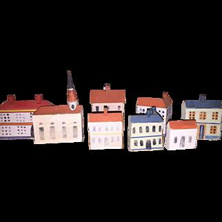 Antique German Erzebirge Putz Wooden Miniature Village