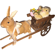 Antique German Paper Mache Bunny  Candy Container With Wooden Pull Cart and Spun Cotton Chicks
