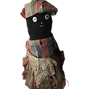 Antique Cloth Black Americana Folk Art Sock Bottle Doll