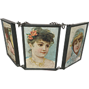 Antique Miniature 3 Way Lithograph Victorian Vanity Doll Mirror