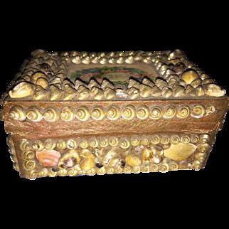 Antique Victorian Sailor Valentine Shell Vanity Box