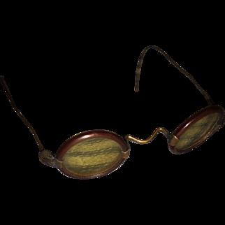 Antique Miniature Toutoise  Shell Doll Glasses