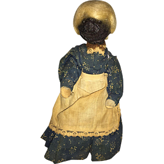 Old Folk Art Miniature Nut Doll with Wig and  Old Calico Blue Dress