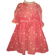 Antique Old Red Doll Dress For A Cloth Doll