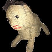 Antique Folk Art Early Cloth Rag Doll Kitty  Straw Stuffed