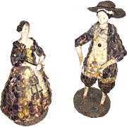 Antique Early 1840's Paper Mache Shell Dolls