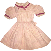 Antique Pink Striped Cotton Doll Dress