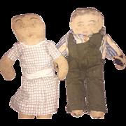Antique Folk Art Ink Face Cloth Pair Of Rag Dolls