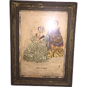 Antique French Fashion Print With Applied Early Doll Clothing