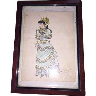 Antique American School Girl Folkart Watercolor  Fashion  Portrait Painting