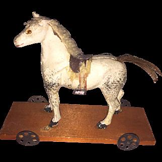 Antique German Paper Mache Miniature Platform Horse Doll Accessory
