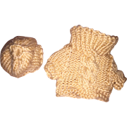 Miniature Hand Made Knit Teddy Bear Sweater and Cap