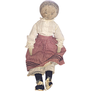Antique Ink Face American Cloth Rag Doll