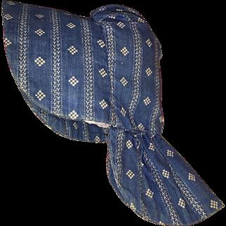 Old Blue Calico Doll Bonnet