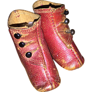 Antique Red Leather Keystone Mark French Fashiin Doll Boots