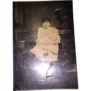 Antique Tin Type Photographic Image Girl and Her China Doll