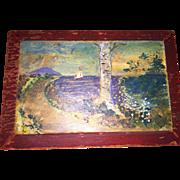 Old Wooden Folk Art Painted Raised Panel Notions Box