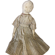 Antique Pencil Face Cloth Rag Doll With Stitched Hand