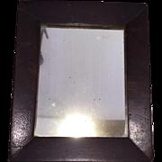 Antique Victorian Primitive  Wooden Small Shaving Mirror