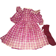 Antique 19th Century Cranberry  Check Doll Dress with Socks