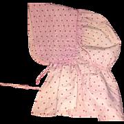 Old Pink Polka Dot Bonnet for Larger Doll
