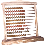 Antique Abacus Counting Mathematical Tool with Numbers