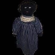 Antique American Folk Art Black Cloth Rag Doll