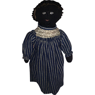 Antique American Folk Art Black Cloth Rag Doll