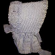 Old Gingham Doll Bonnet