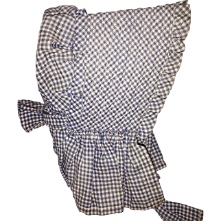 Old Gingham Doll Bonnet