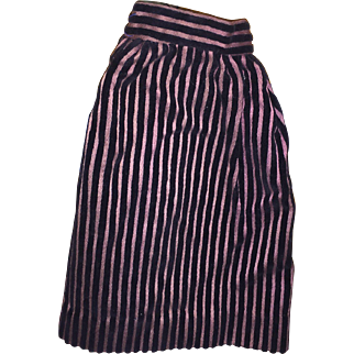 Antique Early Striped Velvety Doll Skirt