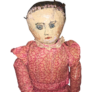 Antique Painted Face Cloth Doll With Calico Dress
