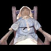 Antique Folk Art Stitched Face Cloth Rag Doll