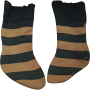 Antique Striped Early Doll Socks