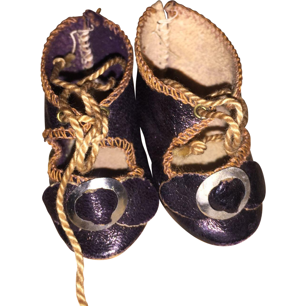 Antique Leather Buckle Doll Shoes