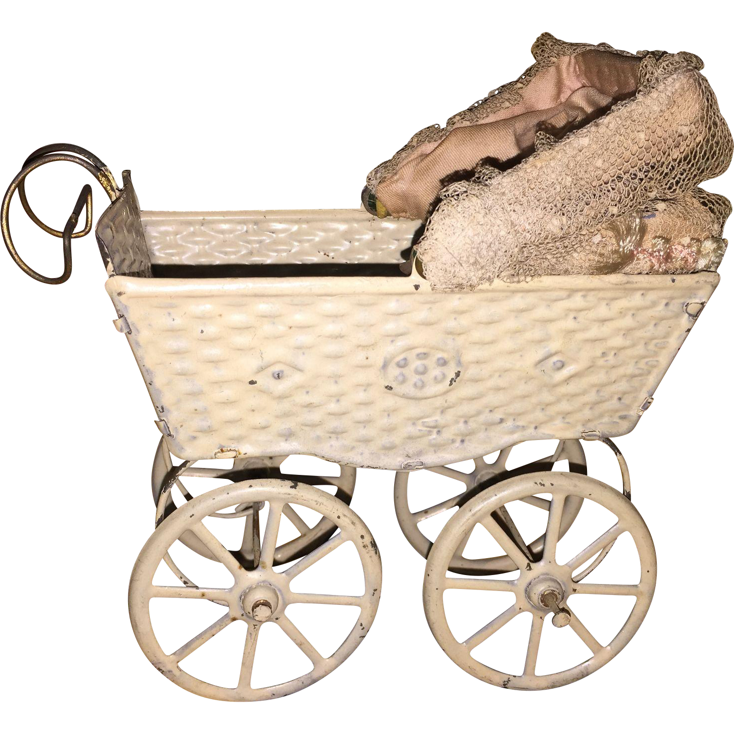 Antique Metal German Doll Buggy Pram