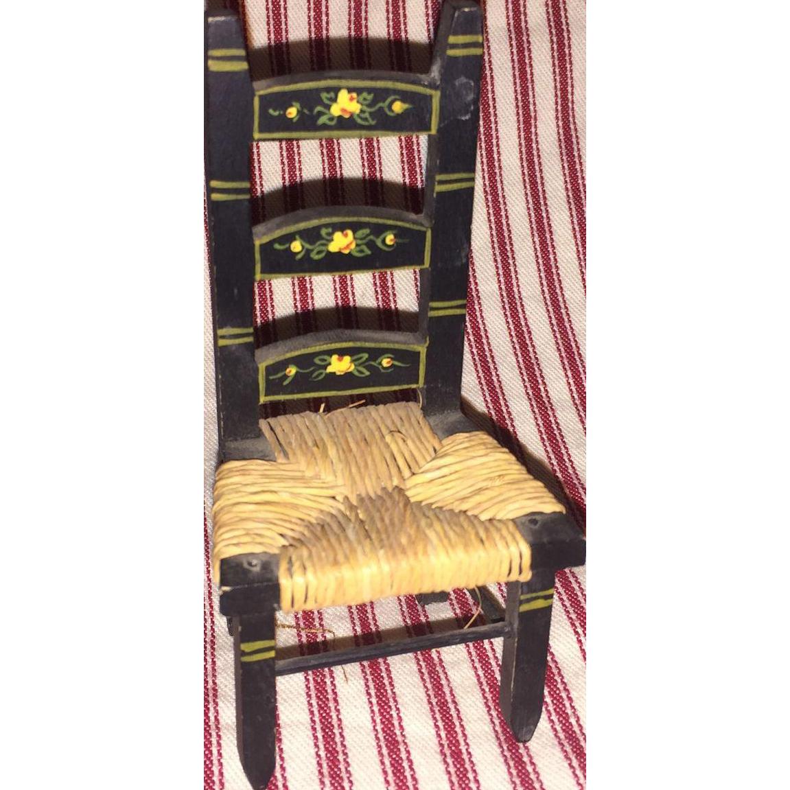 Tynietoy PInted Rush Seat Dollhouse Miniature Chair