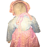 Antique Cloth Rag Doll With Calico Clothing