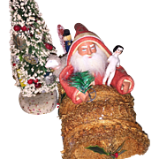 Bethany Lowe German Style Santa In Loofah Sponge Car