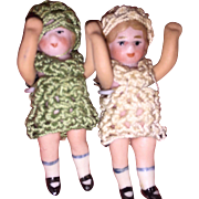 Antique Hertwig All Bisque Carl Horn Twin Dolls