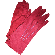 Old Miniature Felted Child's Red Gloves