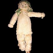 Antique American Folk Art Pencil Face Miniature Cloth Stockinette Doll