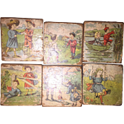 Antique Victorian Lithograph Wooden Toy Blocks