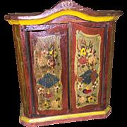 Antique German Wooden Painted Dollhouse Miniature Vanity Armoire