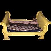 Tynietoy Miniature Dollhouse Yellow Double Sleigh Bed