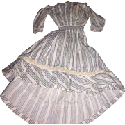 Antique Early Pin Striped Doll Dress Found in New England